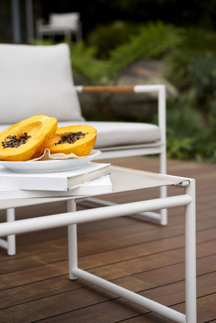 Detail of Eco Outdoor Tully footstool. Outdoor furniture | livelifeoutdoors | Patio furniture | Outdoor dining | Teak outdoor | Outdoor design | Outdoor style | Outdoor luxury | Designer outdoor furniture | Outdoor design inspiration | Pool side furniture | Outdoor ideas | Luxury homes