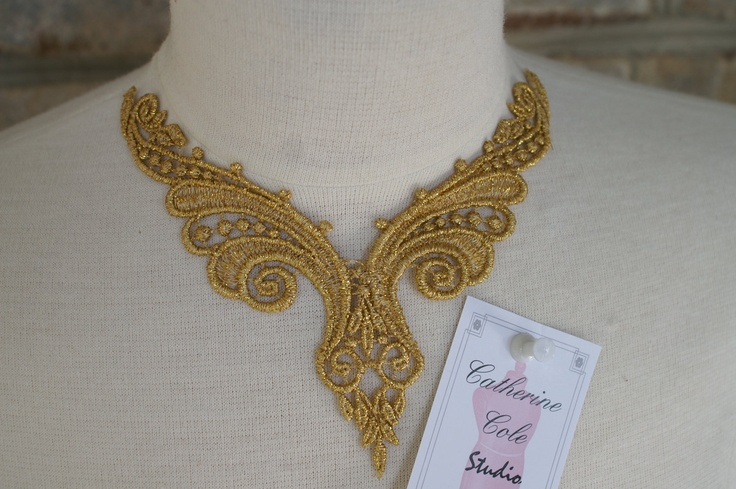 Gold venise metallic yoke lace trims applique for glam costume altered couture holiday jewelry clothing design by Catherine Cole Studio. $2.50, via Etsy.