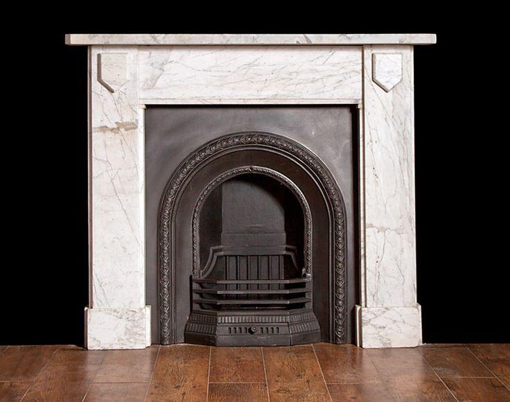 Antique white marble chimneypiece