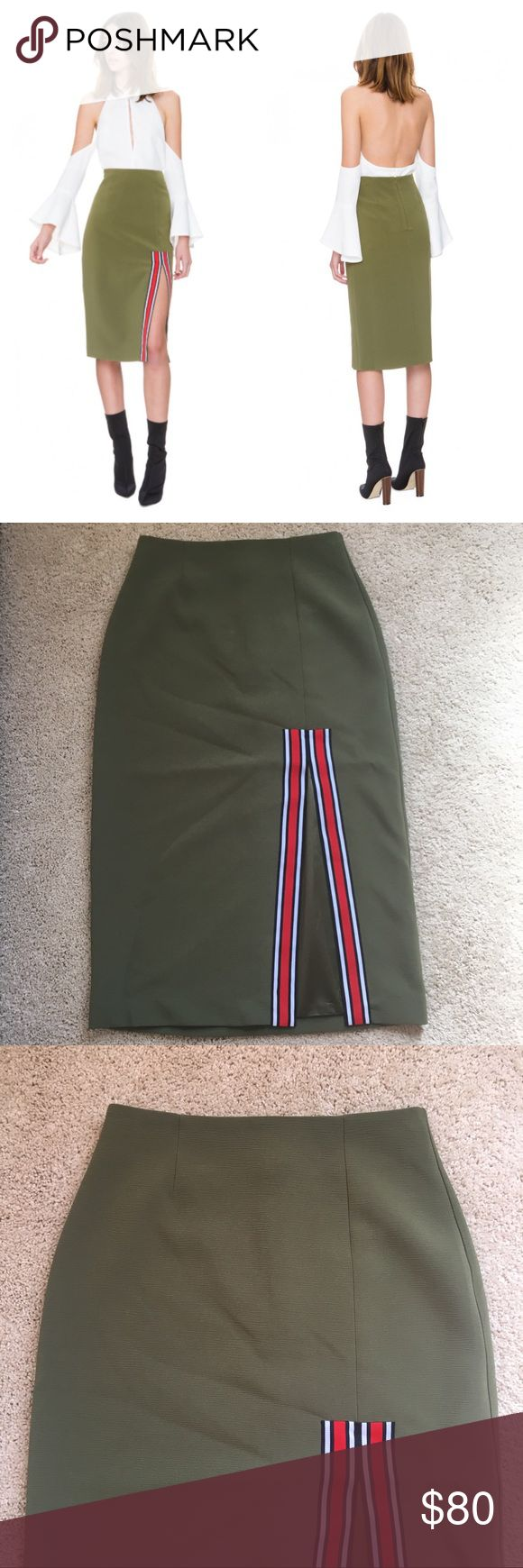 """C/MEO Collective """"A Better Tomorrow"""" Green Skirt NWT Awesome skirt. Has some stretch to it so very curve hugging and comfortable. C/MEO Collective Skirts Pencil"""