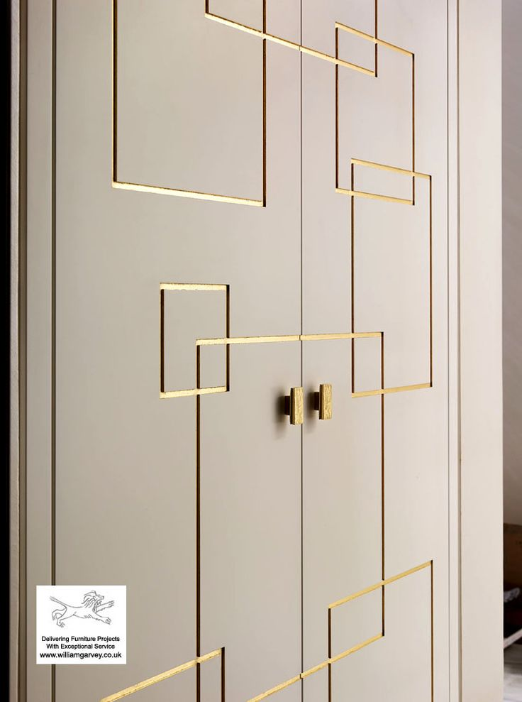 Furniture for a Katharine Pooley Project in Doha by William Garvey Furniture. Cupboard door design using a CNC, and with hand painted gold leaf.