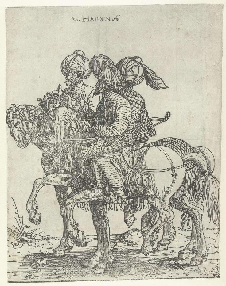 Jan Swart van Groningen; Drie boogschutters te paard, c.1526