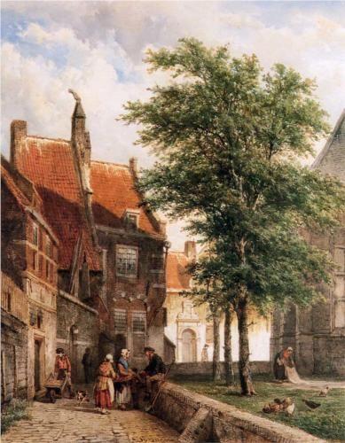 Cornelis Springer, Kijkje achter de Grote Kerk, Naarden.