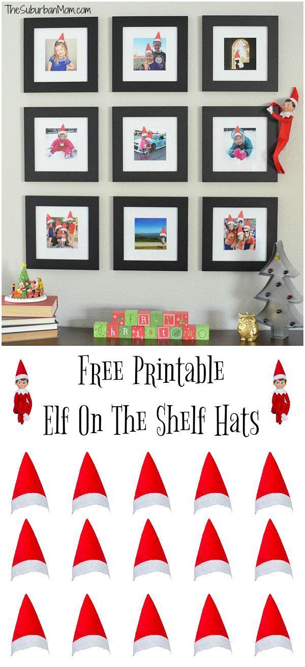 Easy Elf on the Shelf idea - Free Printable Elf on the Shelf Hats for your family photos.
