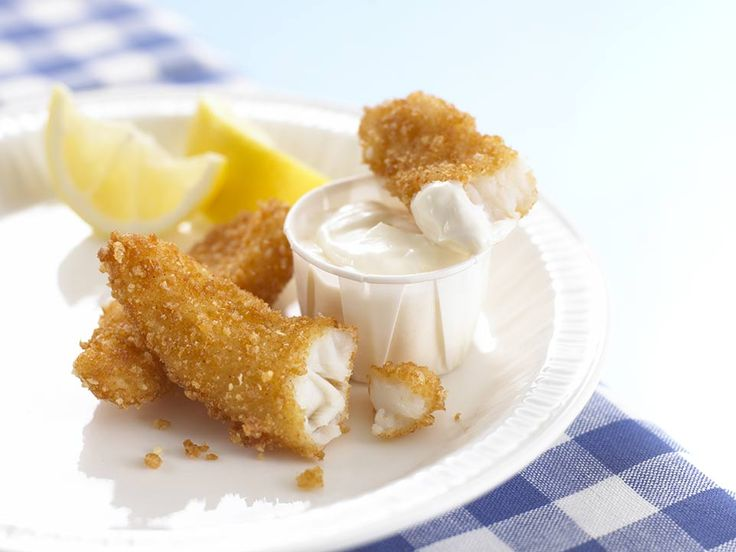 Rice Krispies make a tasty coating for fish, and I like to make these finger-sized goujons, as they cook quickly and can be easily cooked from frozen. Another good coating to try is crushed cornflakes. Simply cut the fish into strips, coat in seasoned flour, lightly beaten egg and then crushed cornflakes and saut