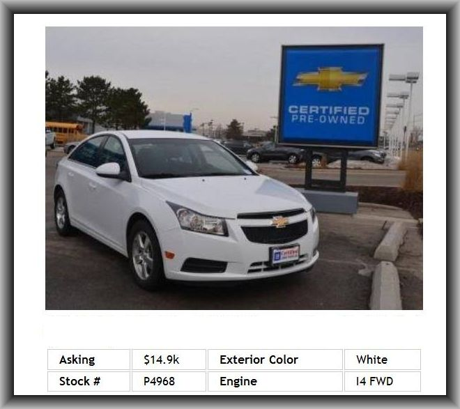 2011 chevrolet cruze lt sedan abs steel wheels rear defrost traction control variable speed. Black Bedroom Furniture Sets. Home Design Ideas