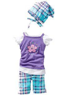 Jurk+T-shirt+legging+ bandana (4-dlg.), bpc bonprix collection, lichtpaars geruit