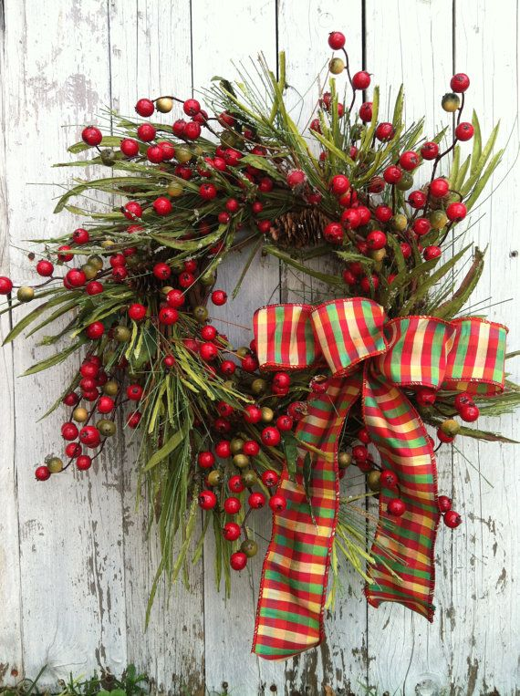 Christmas Berry Wreath  Country Christmas by marigoldsdesigns, $76.00