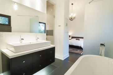 Open space to bathroom. White Bathroom Double Sinks Design Ideas, Pictures, Remodel, and Decor - page 3
