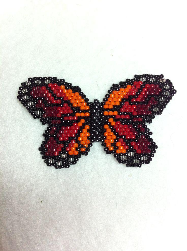 beaded (sunset) monarch butterfly by Angielina Grass©; brick stitch.