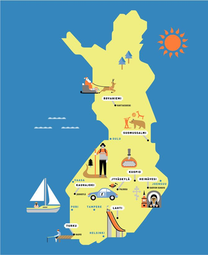 A great looking, non #Helsinki-centric #Finland map :D by Cajsa Holgersson