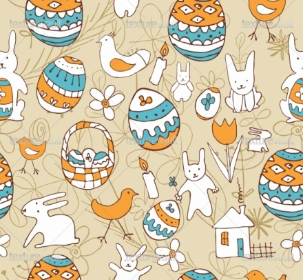 Royalty Free Texture of Easter Child Scribbles Seamless Background - Texturevault.net