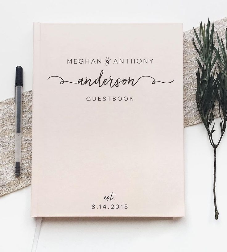 Custom Last Name Calligraphy Wedding Guest Book