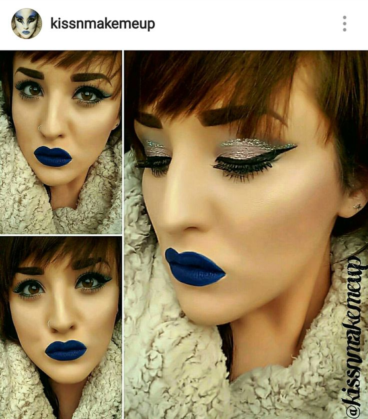 Blue lips and glitter cut crease by @kissnmakemeup