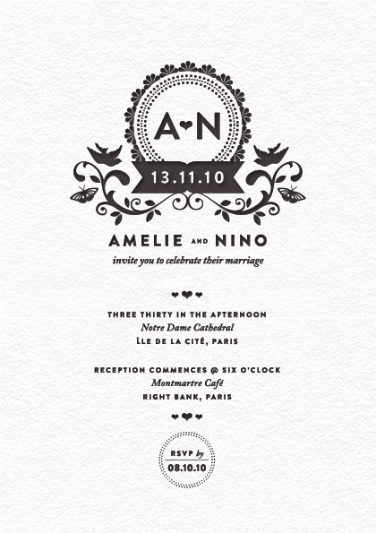 Mitchell & Dent letterpress wedding invitation: another perfectly pretty letterpress wedding invitation this time by Madame Mitchell