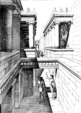 Evans' Drawing of the Reconstructed North Entrance Passage
