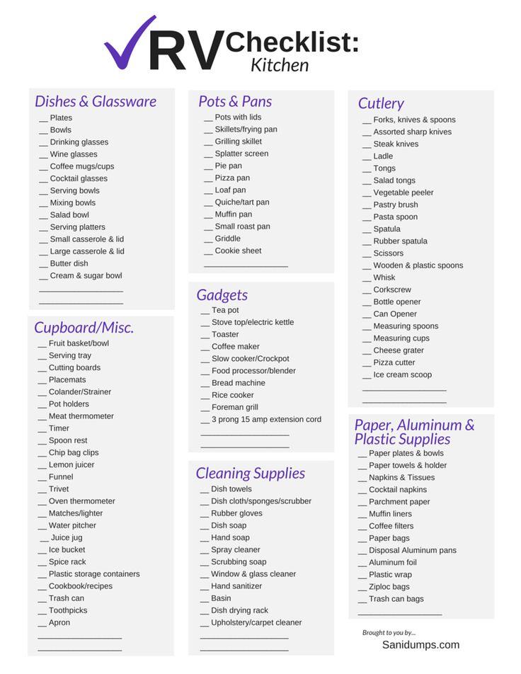 rv checklist kitchen