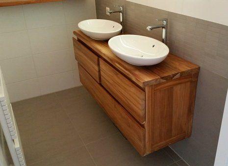 Badkamer meubel van teak hout geheel op maat gemaakt bij Wortman Maatwerk Meubels | Wortman.nl