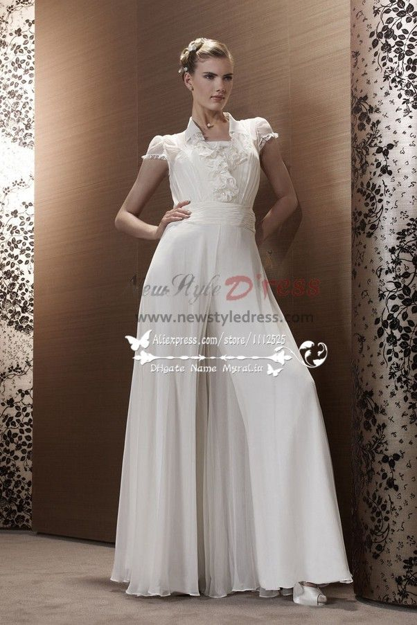 71eca768e008 White Chiffon wedding jumpsuit bridal Siamese trousers dresses wps ...