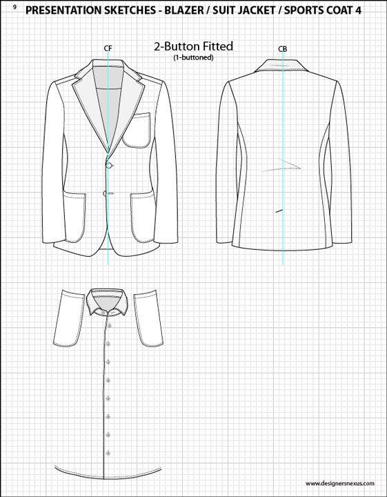 Mens Illustrator Flat Fashion Sketch Templates - Presentation Sketches Suit…