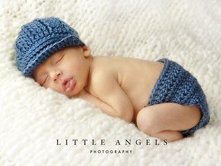 Crochet-Little Boy Blue Newsboy Hat and Diaper Cover $4.99