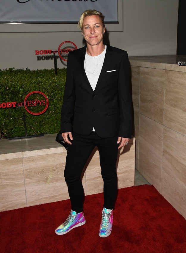 Not to be outdone, Abby Wambach paired hers with some flashy kicks.