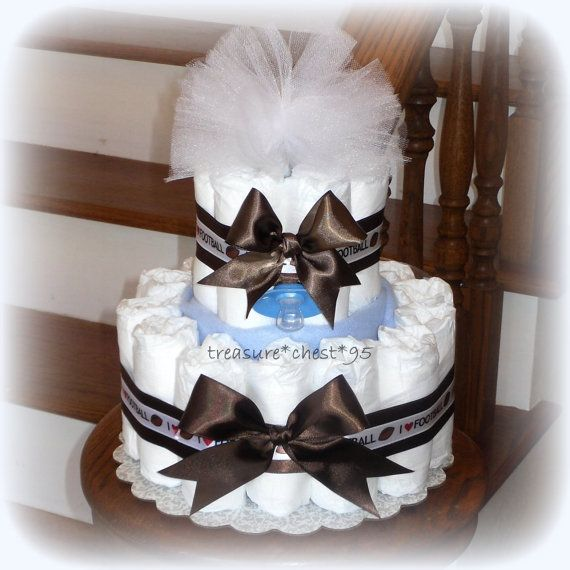 football baby boy diaper cake baby shower centerpiece blue and