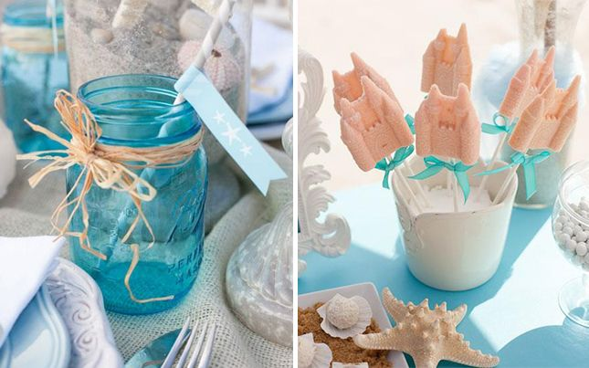 Beach: If you're down at the beach, use your resources to decorate. Seashells, sand and sea glass make beautiful accessories for the table and blue mason jars bring out the colors of the ocean. (via Celebrations)