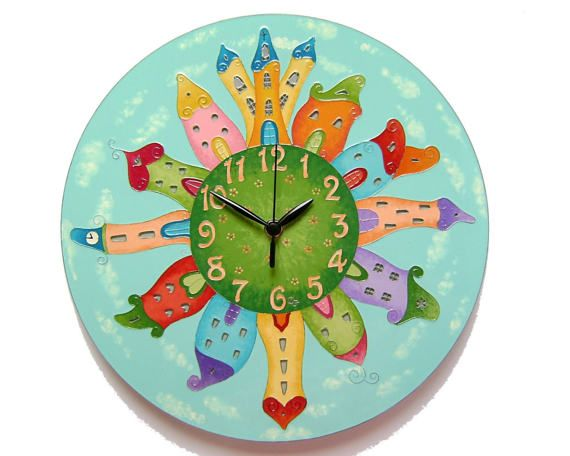 elf houses large wall clock fairy houses colorful wall clock unique glass wall clock silent kids clock glass painting new baby gift