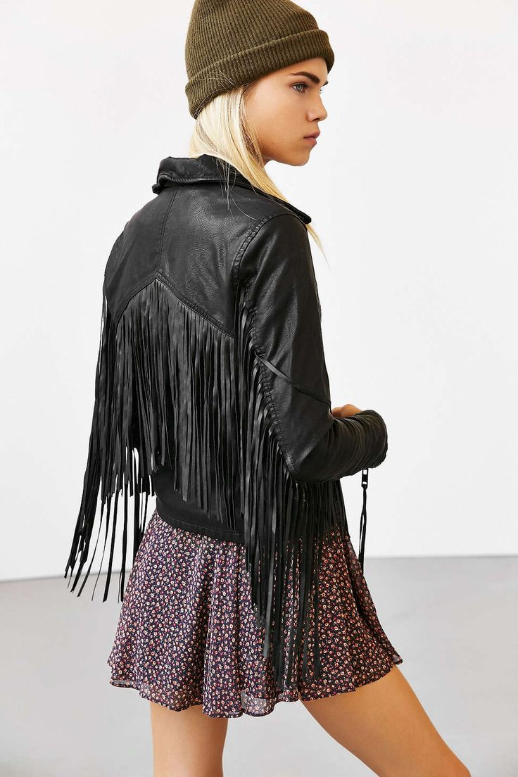 BLANKNYC Vegan Leather Fringe Jacket - Urban Outfitters