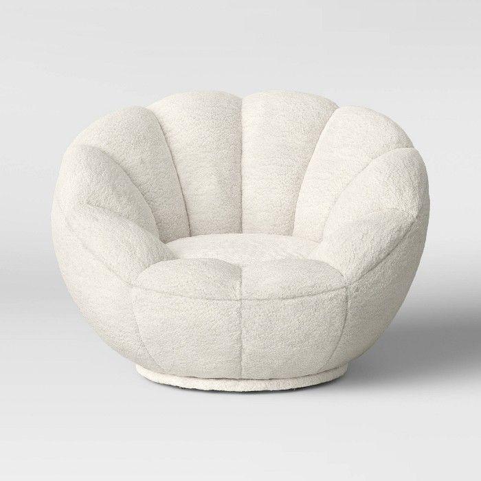 Kids Sherpa Tulip Swivel Chair Cream Pillowfort Kids Sofa Kids Chairs Pillow Fort
