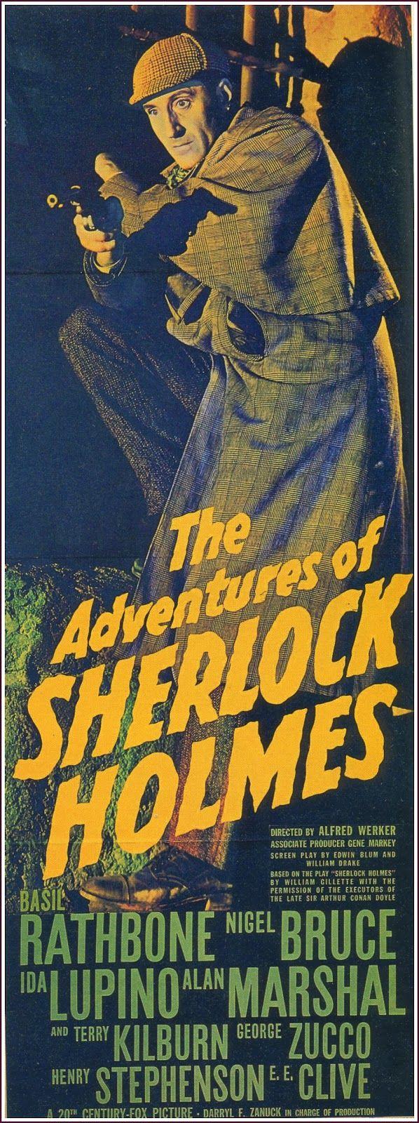 THE ADVENTURES OF SHERLOCK HOLMES (1939) - Basil Rathbone - Nigel Bruce - Ida Lupino - 20th Century-Fox - Insert Movie Poster.