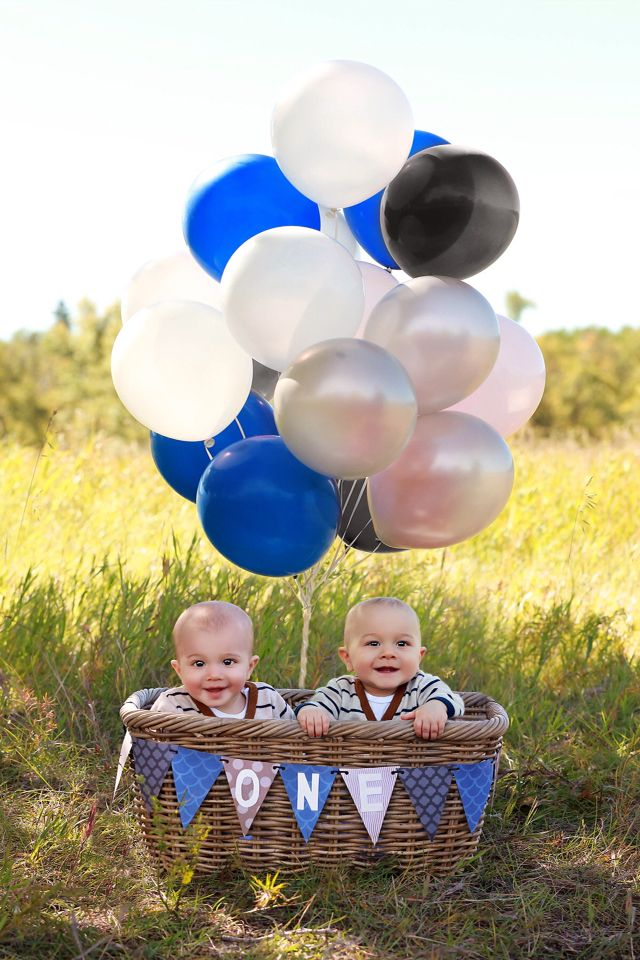 Twins!  Happy first birthday boys!! Can't wait for your cake smash! Calgary photo, cake smash, first birthday, twins, blue, white, black and silver, basket with balloons