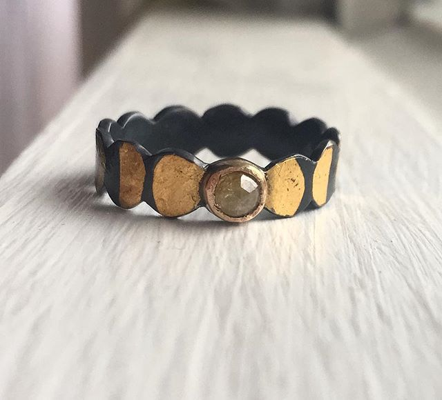 Ee! @acanthusjewelry made me a phases of the moon band with a natural colored diamond. Its amazing.