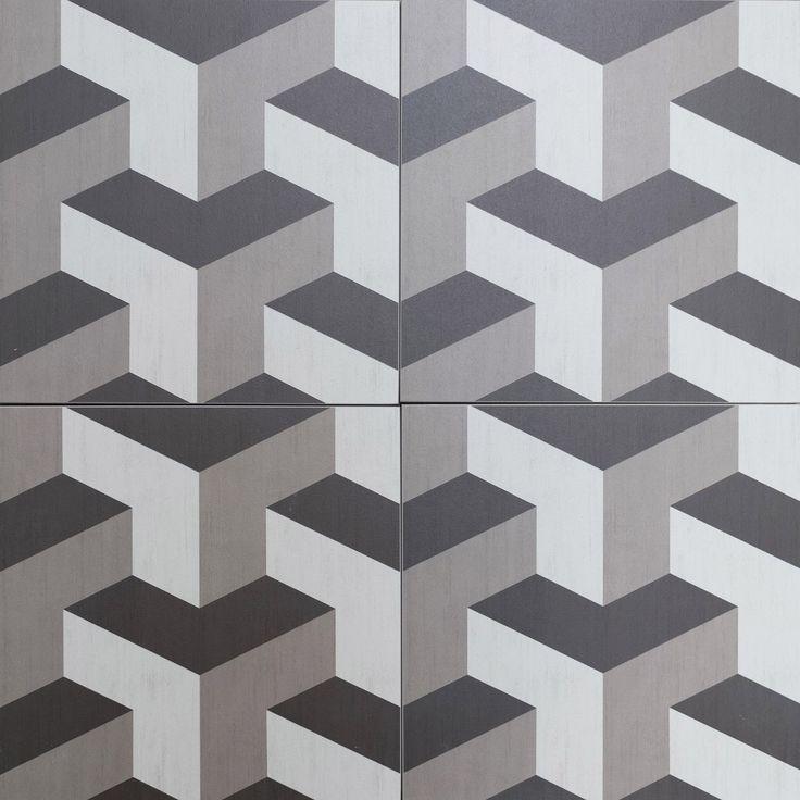 Cubic Geometric 3d Style Floor Tiles Encaustic Look Porcelain Tiles Grey Shades With Funky Retro Pattern Kitchen Design Tile Patterns Tiles Ceramic Tiles