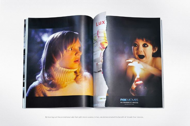 """Read more: https://www.luerzersarchive.com/en/magazine/print-detail/fox-movies-51036.html Fox Movies Campaign for movie channel Fox Movies. The ripped-out promotional ads that split movie scenes into two are intended to demonstrate the benefits of """"break-free"""" viewing. Tags: Leo Burnett, Dubai,Mohamed Oudaha,Ben Jaison,Fox Movies,Peter Bidenko,Mohammad Aram"""