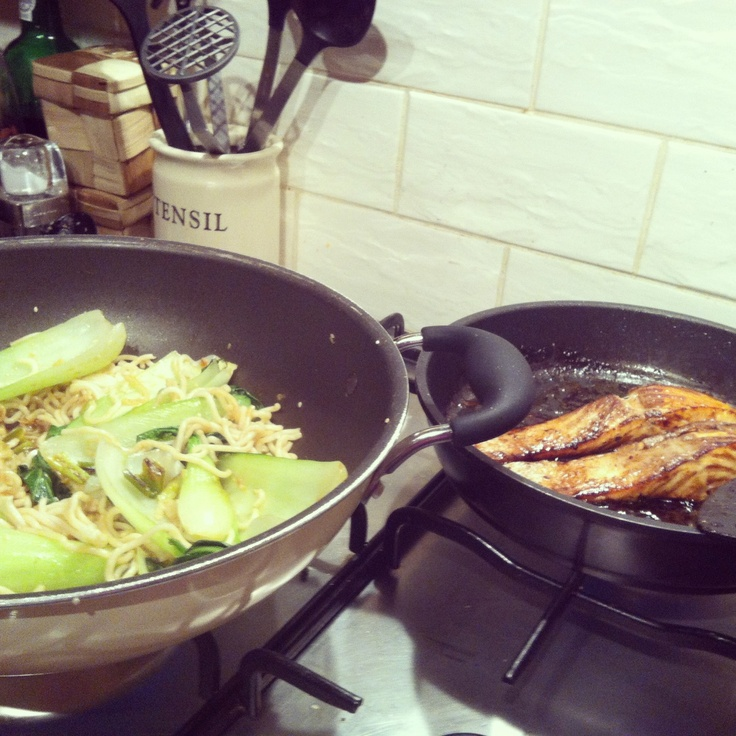 soy honey glazed salmon with pak choi noodles lorraine pascale recipe food drink. Black Bedroom Furniture Sets. Home Design Ideas