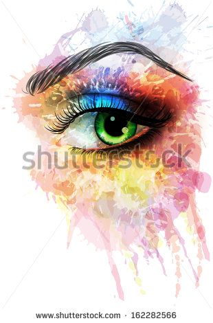 Eye made of colorful splashes - stock vector