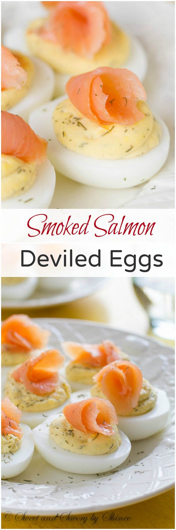 Simple, classic deviled eggs fancied up with smoked salmon. Sophisticated, beautiful, and most importantly, delicious!