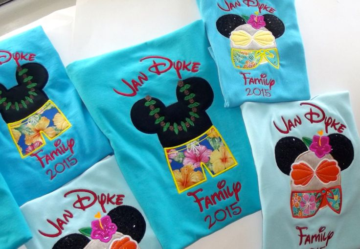 Disney Mickey and Minnie Hawaiian T Shirts for entire family. Aulani, Disney World, Disney Cruise. Personalized Custom Appliqué Embroidery by aTaylorMadeEmbroider on Etsy