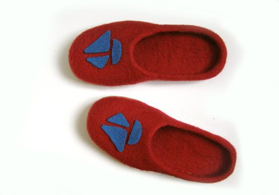 Felted natural wool slipper/ felted shoes Felted slippers