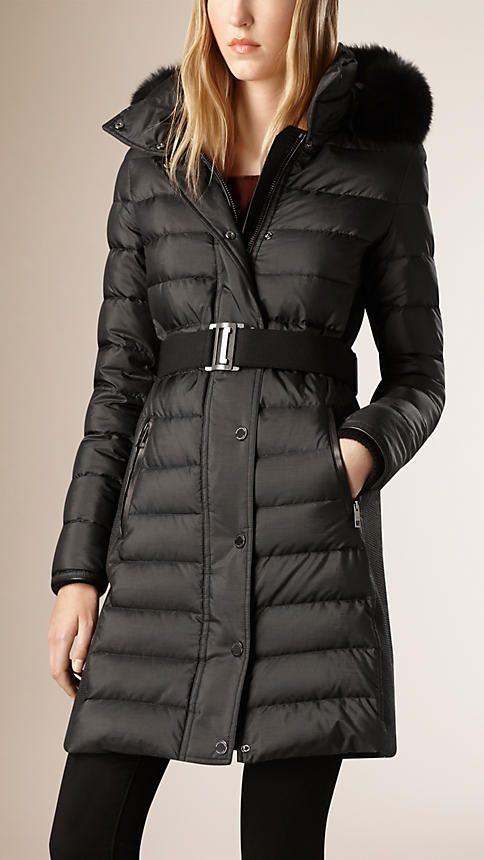 Black Down-filled Coat with Fur Trim - Image 2 £1095