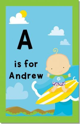 Personalized Surf Boy Nursery Wall Art