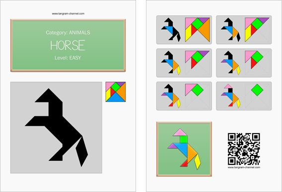 Tangram Puzzle Worksheets: Horse Print, Instructions Tangram, Marvelous Math, Horses, Magical Maths, Math Mania, Puzzles Ese, Puzzle Worksheets, Tangram Puzzles