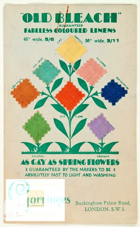Old bleach guaranteed fadeless coloured linens as gay as spring flowers Catalogue  Frederick Gorringe Ltd, publisher, 1930 - 1940  Booklet of 'Old Bleach' coloured linen samples by Frederick Gorringe Ltd from the 1930s. The booklet contains a separate colour chart.