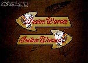 """2 Indian Warrior 8¾"""" Motorcycle Vinyl Stickers"""