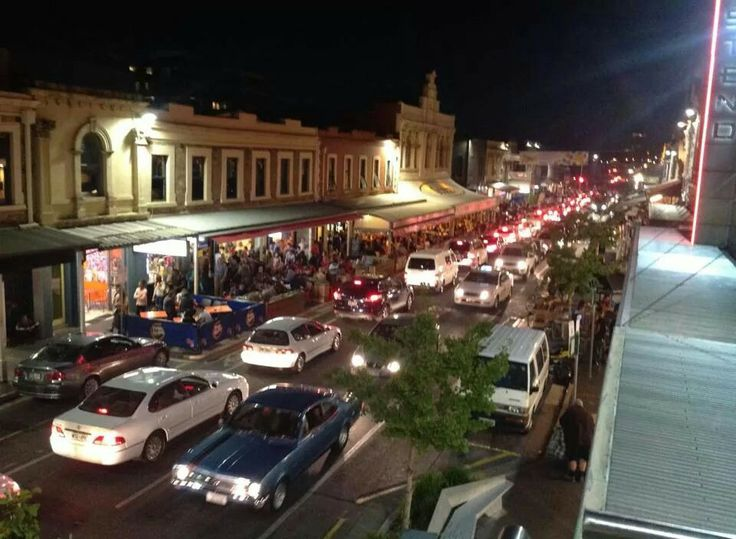 The East End : Rundle Street at night.