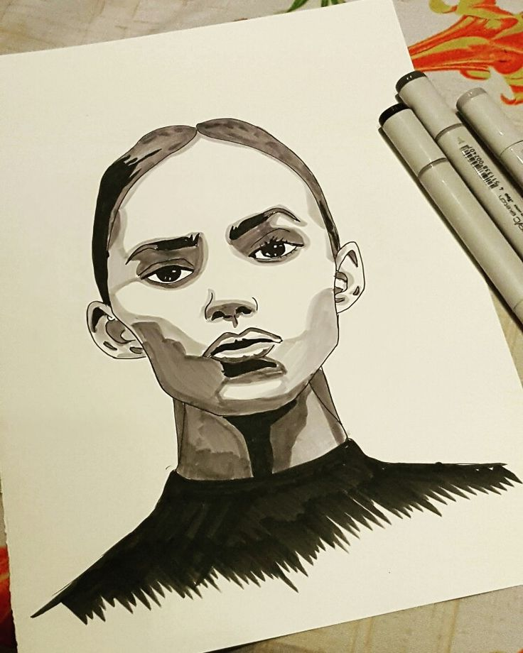 3 grey copic marker sketch