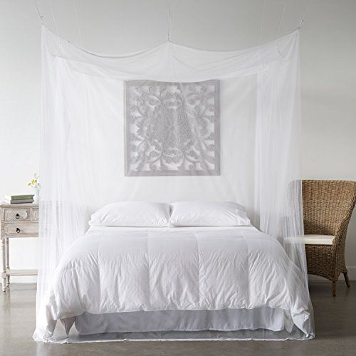 Mosquito Net Bed Canopy  Bug Screen Repellant  Rectangle Curtains for Twin Full Queen  King Beds  Repels Insects Carrying Malaria  Diseases  Home or Travel Use  Includes Hardware -- Click image for more details.