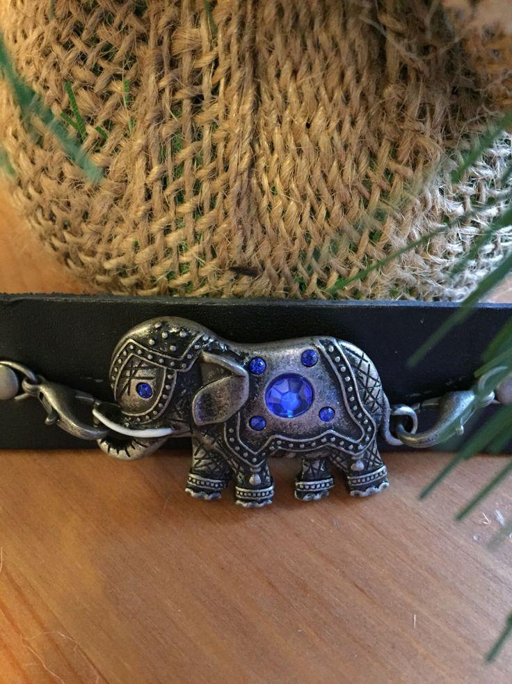 Leather Bracelet Elephant Good Luck Charm Adjustable for Men or Women by SageandDeesVintage on Etsy https://www.etsy.com/listing/224535022/leather-bracelet-elephant-good-luck